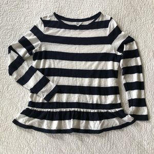 Crown & Ivy Navy Striped Shirt with Ruffles